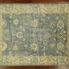 New Veg Dyed Hand Knotted Oushak 10x14 Blue/Ivory Floral Turkish Wool Rug H3829