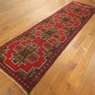 New Geometric Area Rug Baluch Hand Knotted Wool Runner Red Medallion 3x10 P1171