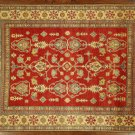 "New 6'9""x8'10"" Original Wool Hand Knotted Super Kazak Red-Ivory Border Rug H6209"
