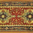 100% Wool Hand Knotted Red/Navy Blue Serapi Oriental 3'x6' Heriz Area Rug H8090
