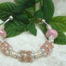 Hand Woven Pink Beaded Bracelet