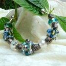Aqua and Teal Blue Cuff Bracelet