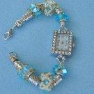 Bracelet Watch, Aqua and Cream, Hand Beaded