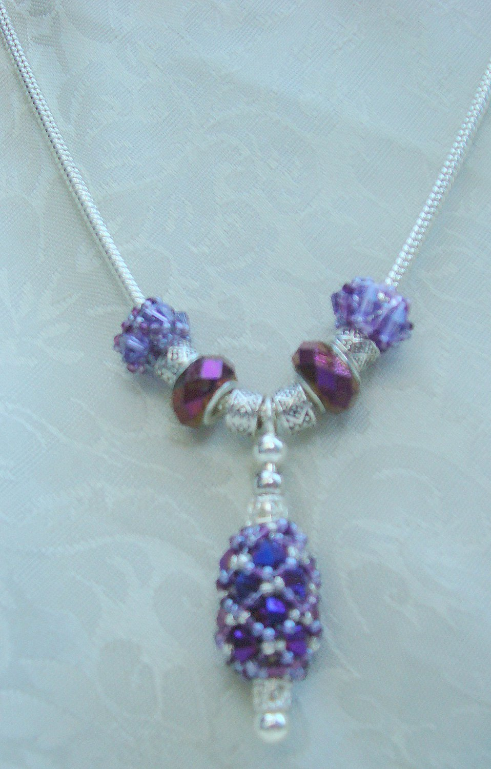 Purple and Silver Pendant Necklace