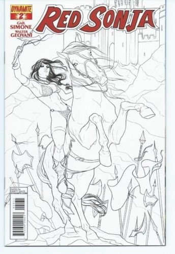 Red Sonja #2, (1:15) Jenny Frison Variant B&W Cover, Dynamite Entertainment