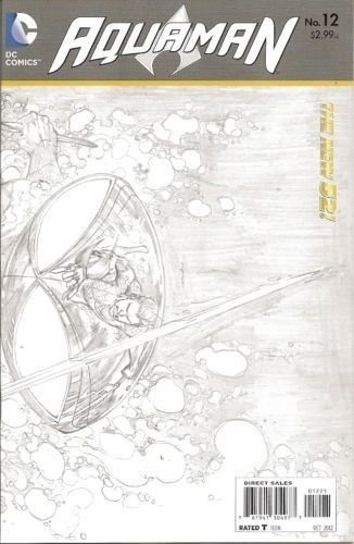 Aquaman 12 New 52 1:25 Sketch Variant DC Comics Geoff Johns Ivan Reis NM