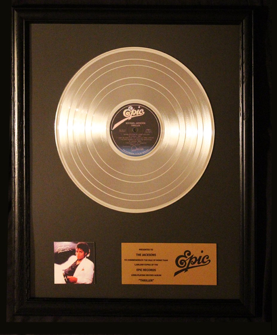 Michael Jackson Thriller Platinum Non RIAA Record Award Epic Records