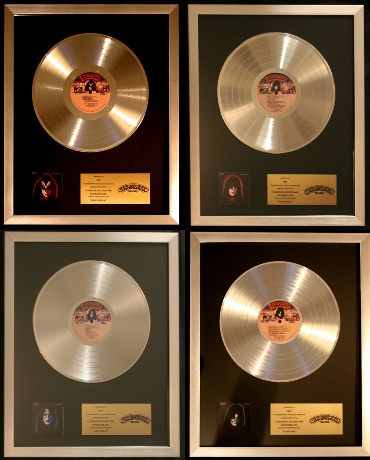 KISS 4 Solo LPs Ace Peter Paul Gene Platinum Non RIAA Record Award Casablanca HUGE