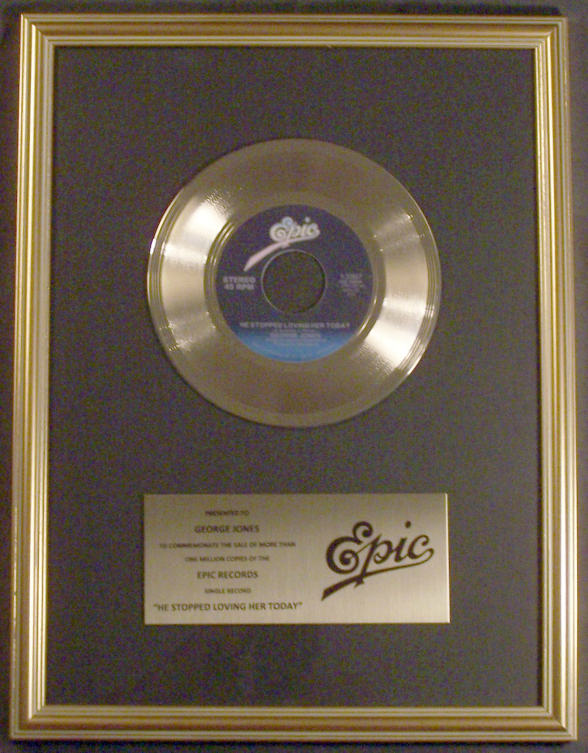 George Jones He Stopped Loving Her Today 45 Gold Non RIAA Record Award Epic Records