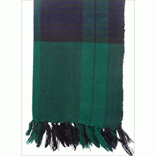 Himalayan Yak Wool Green Blue Check Shawl ,NEPAL