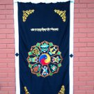 Astamangal Symbol with Ying-Yang Embroidery Black Door Curtain