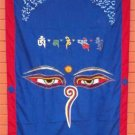 Blue Wisdom Eye Cotton Door Curtains NEPAL