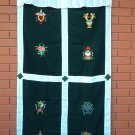 Green Eight Auspicious Symbol (Astamangal) Embroidery Tibetan Door Curtains