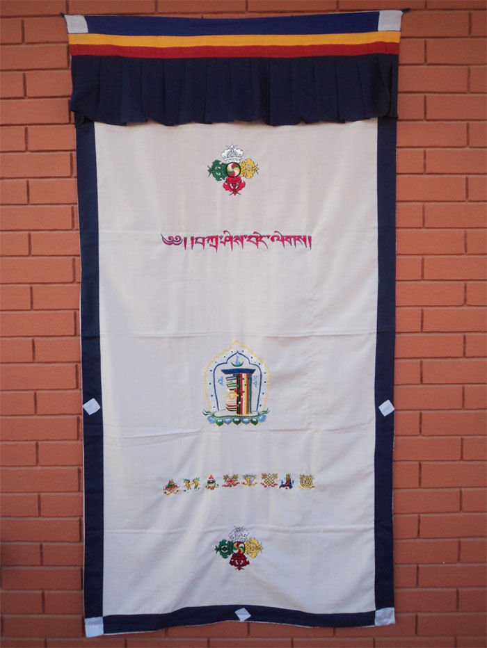 Kalachakra with Eight Auspicious Symbol and Double Dorjee Door Curtain