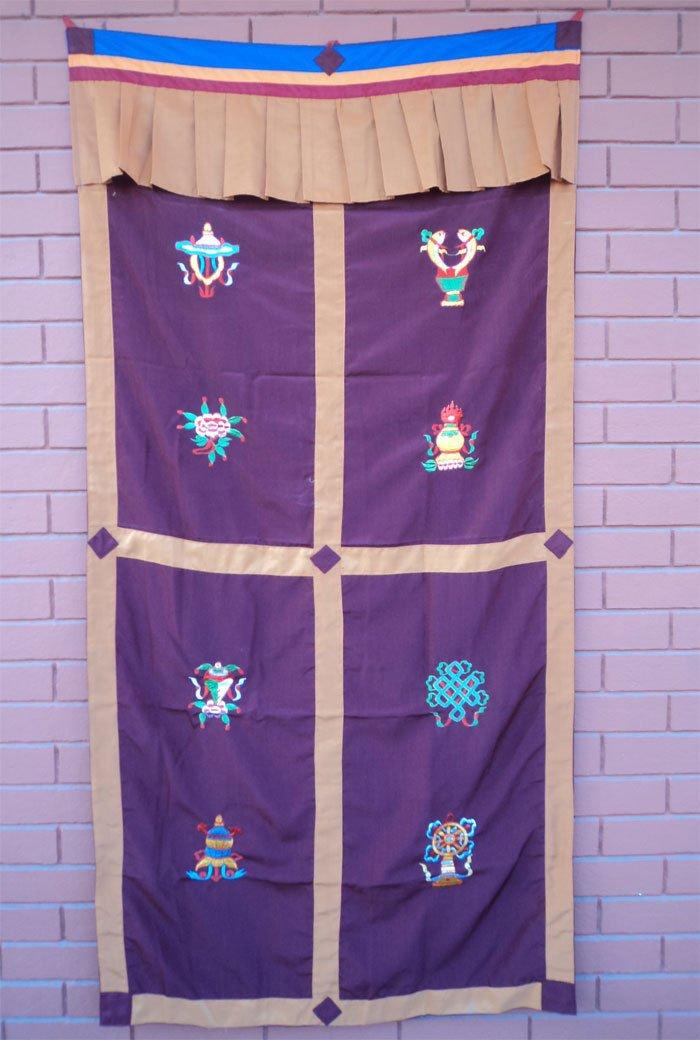 Maroon Eight Auspicious Symbol (Astamangal) Embroidery Tibetan Door Curtains