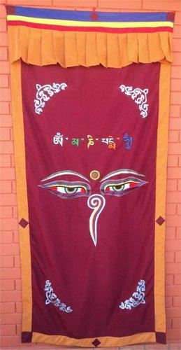 Maroon Wisdom Eye Cotton Door Curtains NEPAL