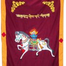Maroon-2 WindHorse Embroidery Tibetan Buddhist SpunSilk Door Curtain NEPAL