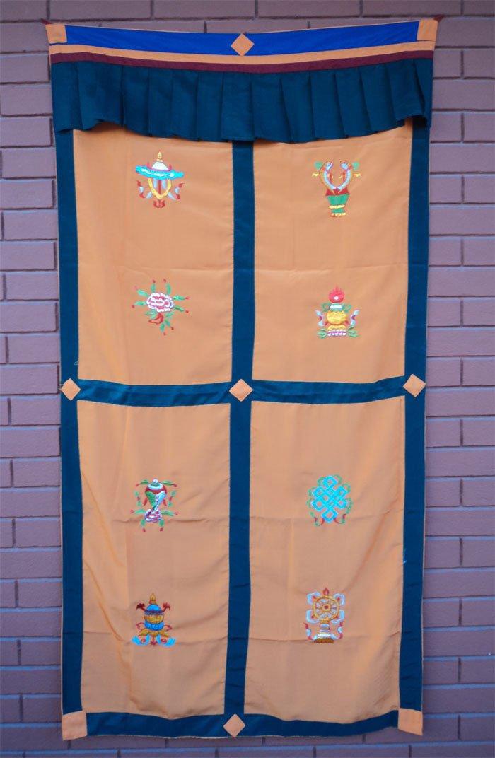 Orange Eight Auspicious Symbol (Astamangal) Embroidery Tibetan Door Curtains