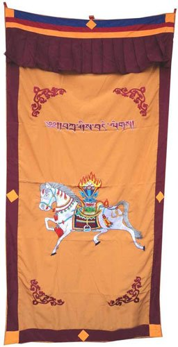 Orange-2 WindHorse Embroidery Tibetan Buddhist SpunSilk Door Curtain NEPAL
