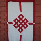 Red Endless Knot Patch Tibetan Cotton Door Curtains