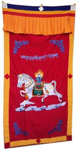 Red-1WindHorse Embroidery Tibetan Buddhist SpunSilk Door Curtain NEPAL