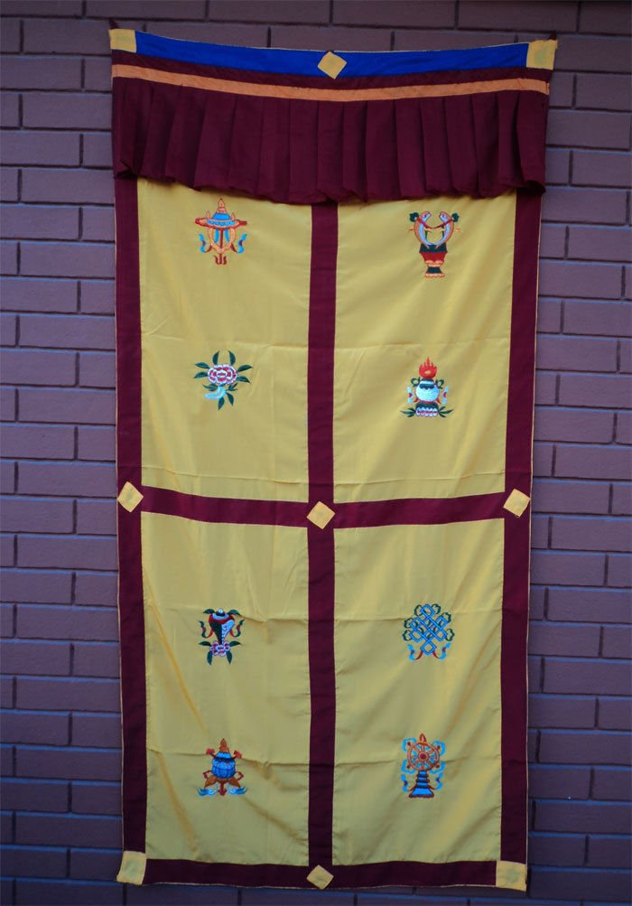 Yellow Eight Auspicious Symbol (Astamangal) Embroidery Tibetan Door Curtains