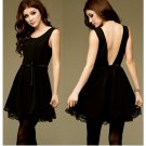 Free Shipping New Sexy Fashion Ladies Cocktail Party Backless Sleeveless Slim Mini Dress Black