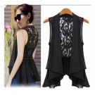 Free Shipping New Fashion Women's Sleeveless Lace Back Pleated Hem Chiffon Blouse Medium Vest