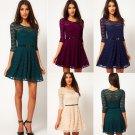 Free Shipping Ladies Round Neck 3/4 Sleeve Lace Dress With Belt
