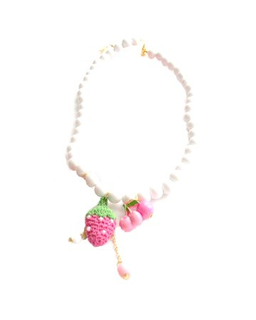 Strawberry White Bead Necklace