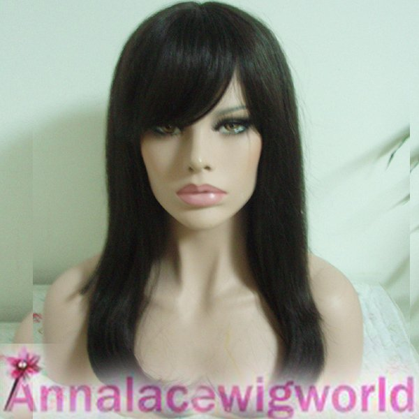 synthetic mono top 18inch dark brown wig for women