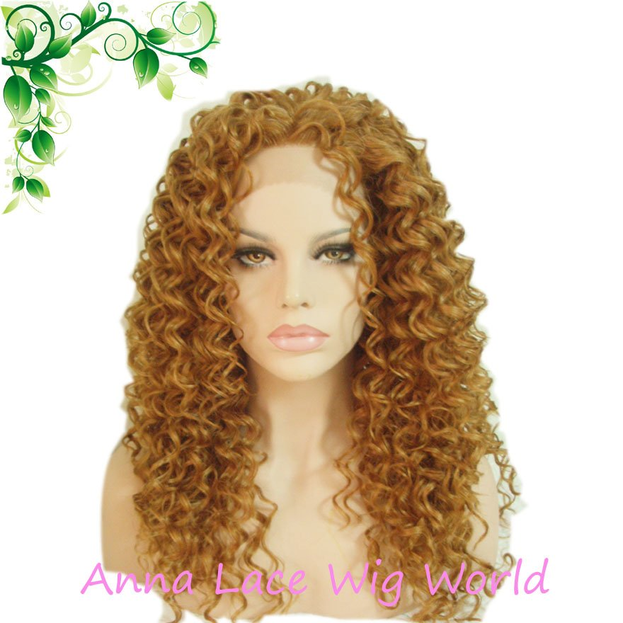 synthetic lace front 18inch light brown wig