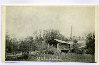 Covered Bridge Bunker Hill Monument Bennington Vermont postcard