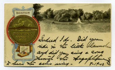 In The Public Gardens City Seal Boston Massachusetts Tuck 1903 postcard