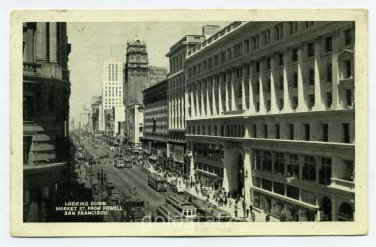 Market Street from Powell Street San Francisco California 1944 postcard