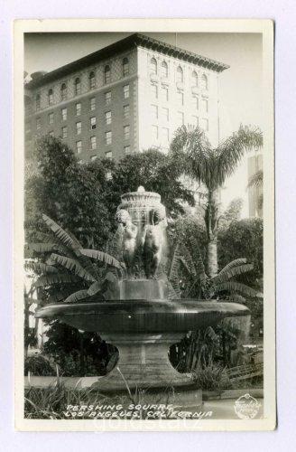 Pershing Square Los Angeles California RPPC postcard