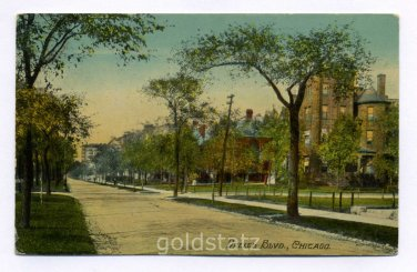 Drexel Boulevard Chicago Illinois 1911 postcard