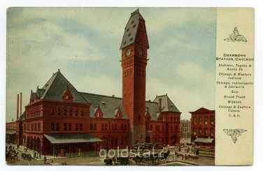 Dearborn Station Chicago Illinois 1915 postcard