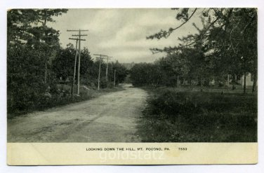 Looking Down the Hill Mount Pocono Pennsylvania 190x postcard