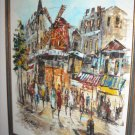25x21 Framed Oil Painting Paris Street Scene, Moulin Rouge France French School