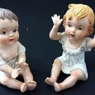 2 Vintage 33/444 Gold Trimmed Hand Painted Bisque Piano Baby Boy Girl Figurines
