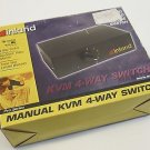 Inland Manual KVM 4-way Switch Pro Series Keyboard Video Monitor Stock No# 08113