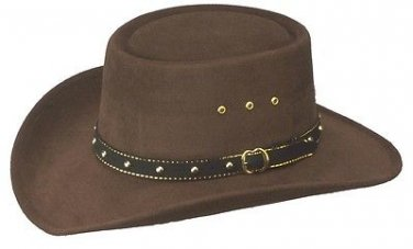 Western Birmingham Faux Felt Gambler Cowboy Hat Men Women Kids Brown - S,M,L,XL