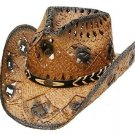 Western Ladies Straw Hat Cowgirl Rodeo Cowboy Dark Brown - Adult & Kids S,M,L,XL
