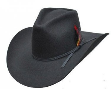 Western Express Brandon Wool Felt Pinch Front Black Cowboy Hat 2 Ply Band SIZES