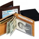 Western Leather BiFold Wallet Card Holder with Money Clip - BLACK, BROWN or TAN