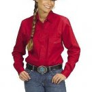 Western Express Cowboy Women's Solid Color Cotton Long Sleeves RED Western Shirt