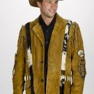 Western Express Men's Brown Suede Jacket with Fur, Concho, Fringe- S,M,L,XL,2XL