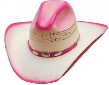Western Montrose Bangora Straw Cowboy Hat w/ Band Rodeo Cattleman PINK -S,M,L,XL