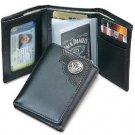 Licensed Jack Daniels Signature Trifold Men'sLeather Wallet w/ Metal Logo BLACK